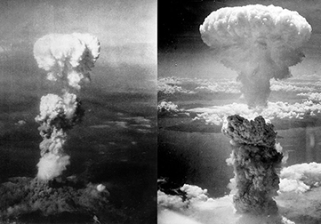 Mushroom Clouds over Hiroshima (left) and Nagasaki (right)